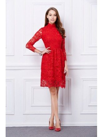 Elegant High Neck Lace Short Formal Dress With Sleeves