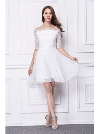 Feminine Off-the-Shoulder Lace Short Homecomging Dress With Short Sleeves