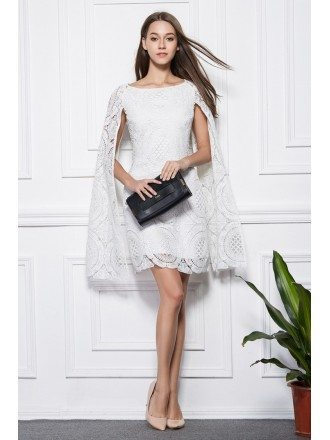 Fashionale A-Line White Lace Short Wedding Party Dress