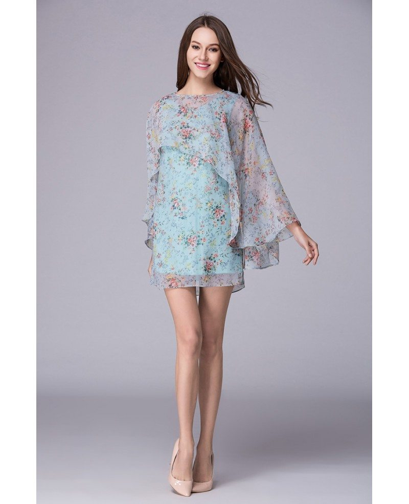 Summer floral printe a line chiffon short wedding guest for Floral print dresses for weddings