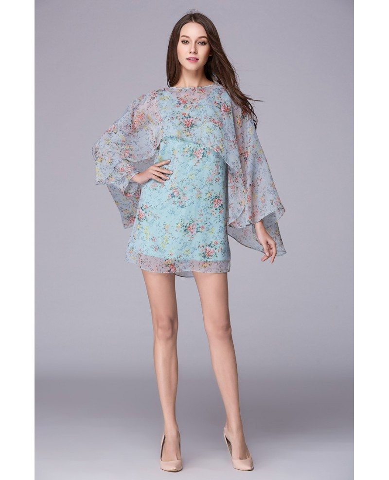Wedding Guest Dress: Summer Floral Printe A-Line Chiffon Short Wedding Guest