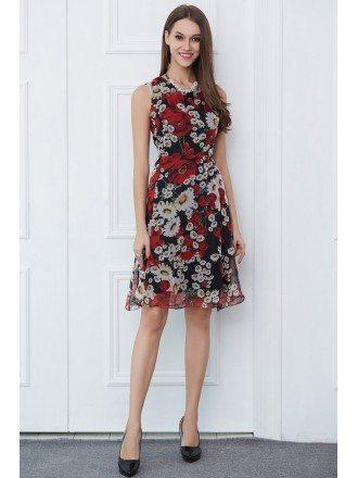 Summer Floral Print Chiffon Knee-Length Wedding Guest Dress