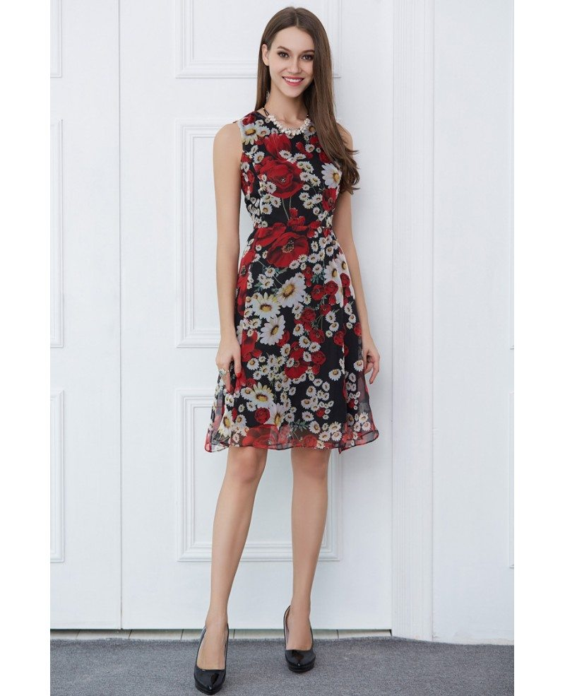 Spring Wedding Guest Hairstyle Ideas: Summer Floral Print Chiffon Knee-Length Wedding Guest