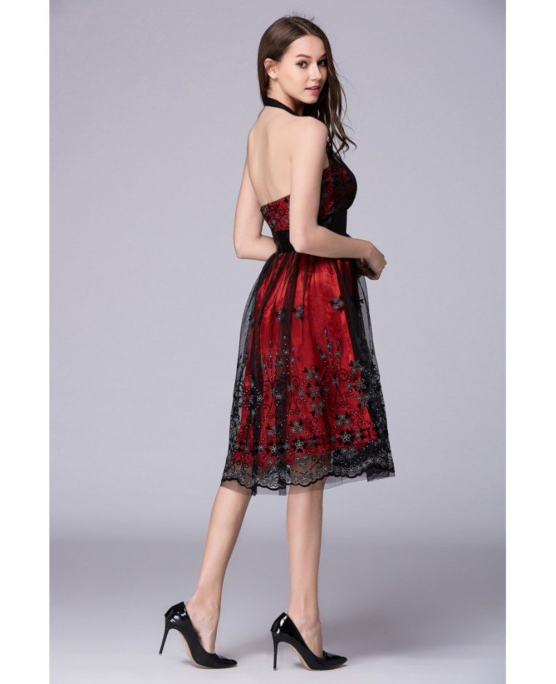 Sexy Red Halter Lace Tulle Wedding Guest Dress #DK54 $62.9 ...