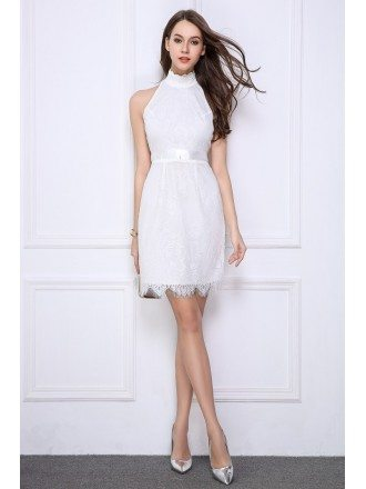 White Lace Short Halter Mini Dress Petite
