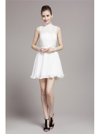 Short A-Line High-neck Chiffon Lace Bridesmaid Dress