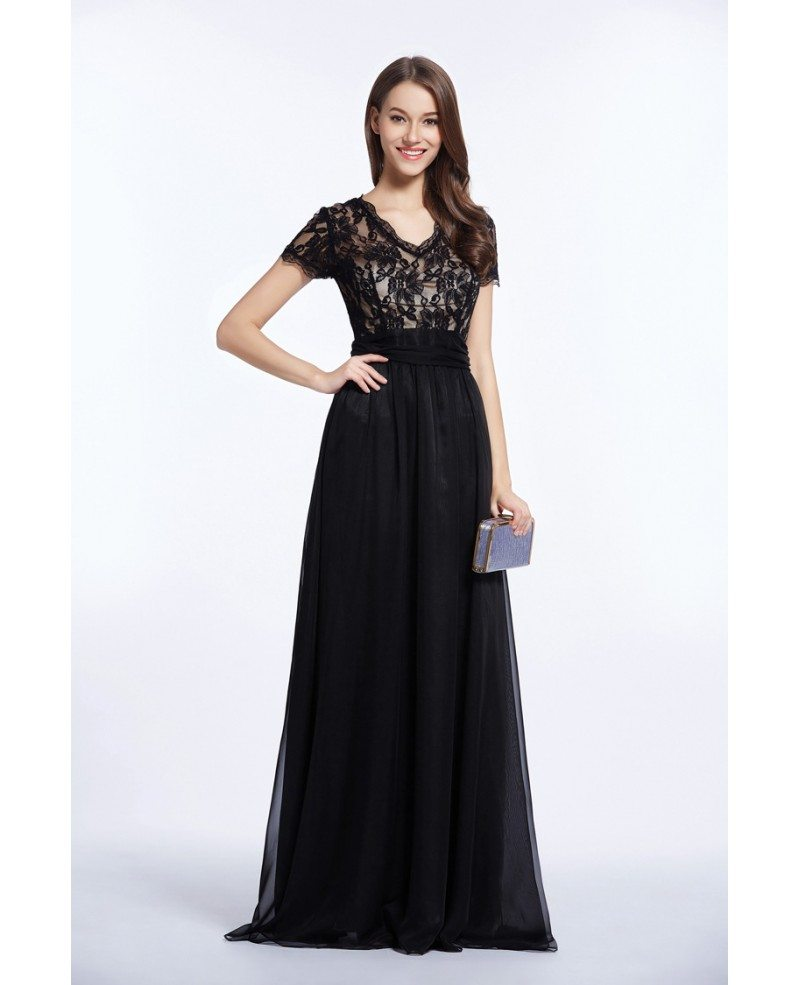 Feminine V-neck Chiffon Lace Long Prom Dress With Short Sleeves #CK469 $86.3 - GemGrace.com