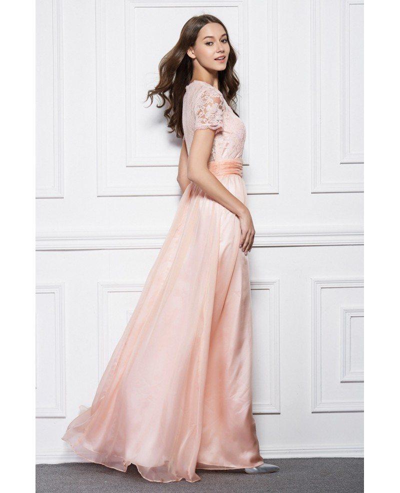 Feminine V-neck Chiffon Lace Long Prom Dress With Short Sleeves ...