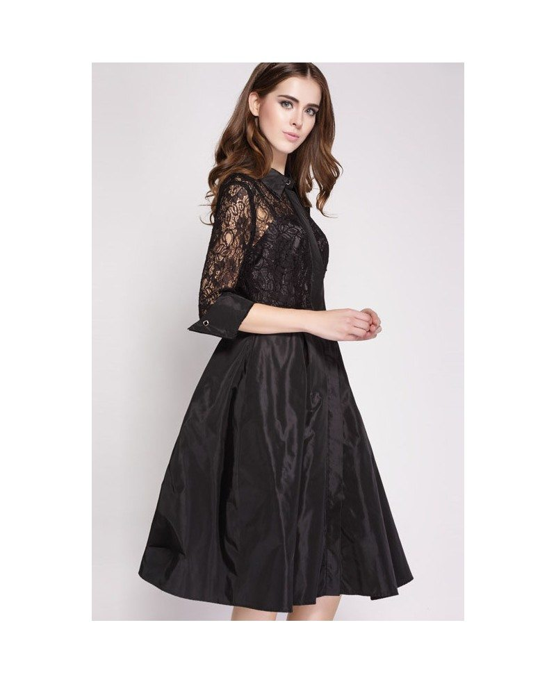 Black Lace Knee Length Dress with Half Sleeves -GemGrace