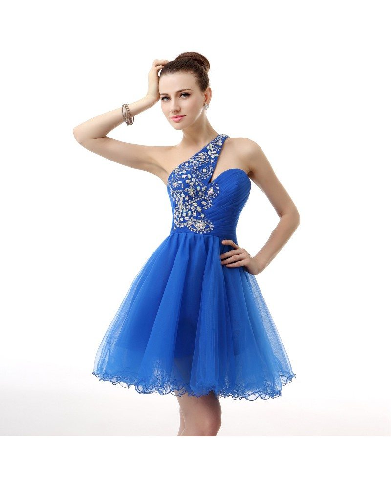 A-Line One Shoulder Short Tulle Prom Dress With Beading # ...