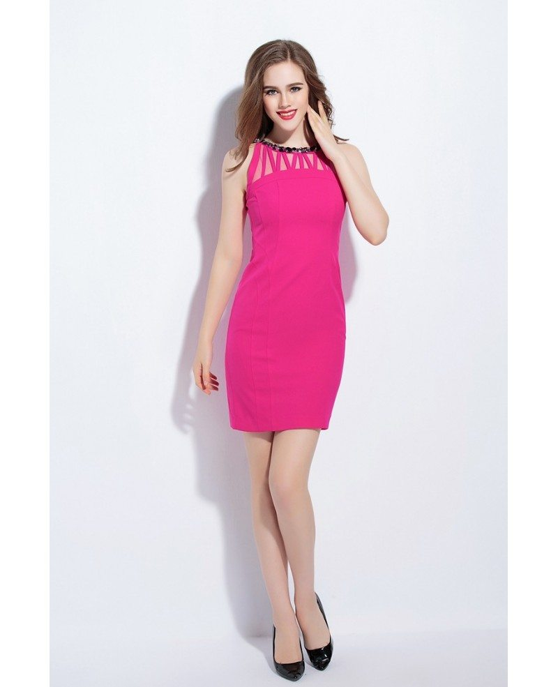 Fuschia Beaded Neckline Bodycon Dress -GemGrace
