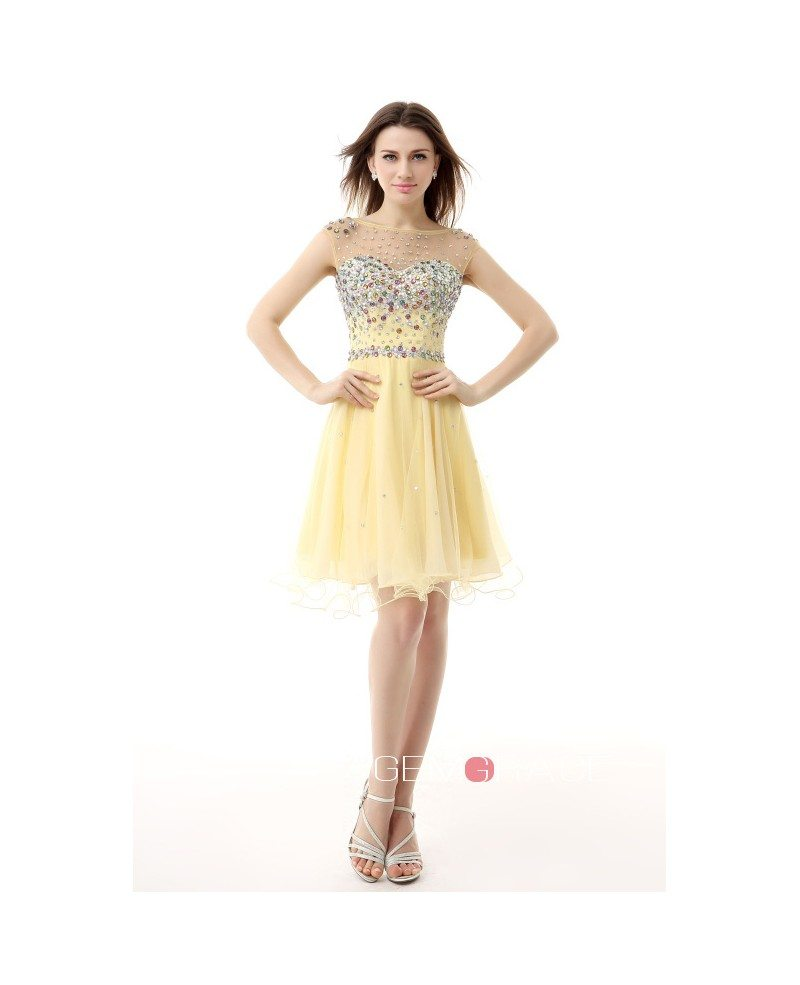 Simple Design Scoop Neck Long Sleeve Long A Line Tulle: A-Line Scoop Neck Short Tulle Prom Dress With Beading