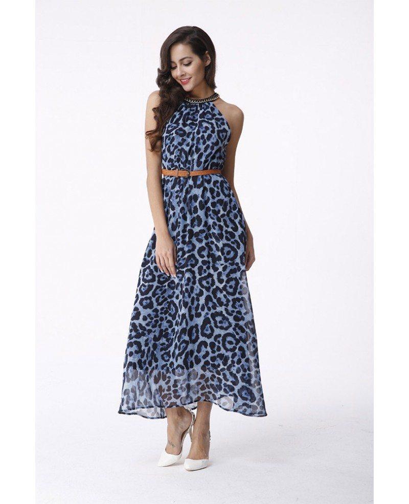 High Neck Leopard Print Chiffon Maxi Dress -GemGrace