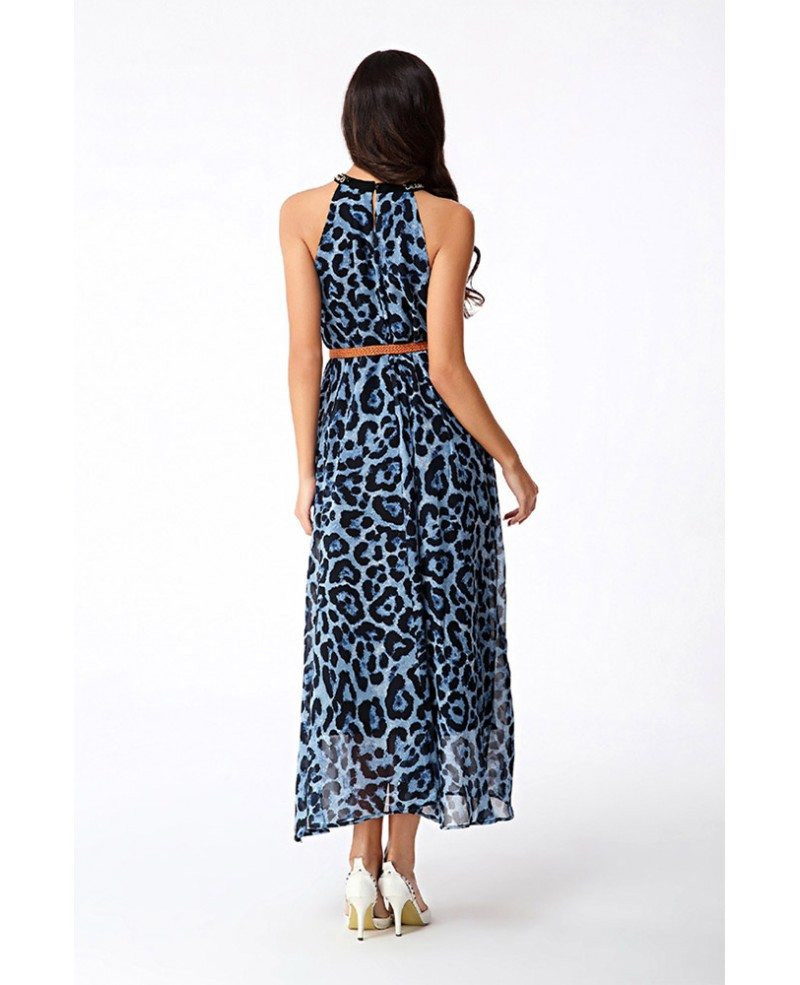 High Neck Leopard Print Chiffon Maxi Dress Gemgrace