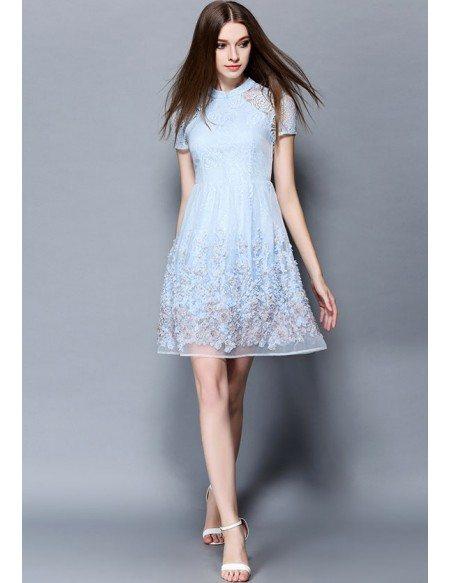 Baby blue lace short wedding guest dress gemgrace for Blue short wedding dress