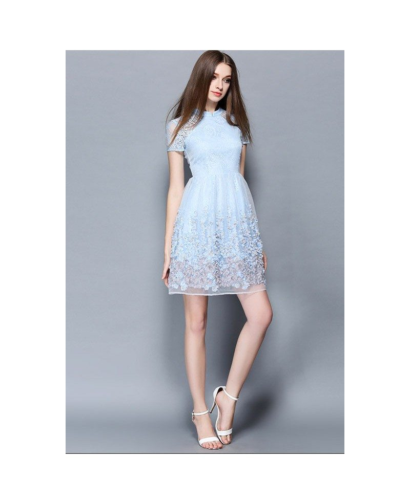 Baby blue lace short wedding guest dress gemgrace for Wedding guest lace dresses