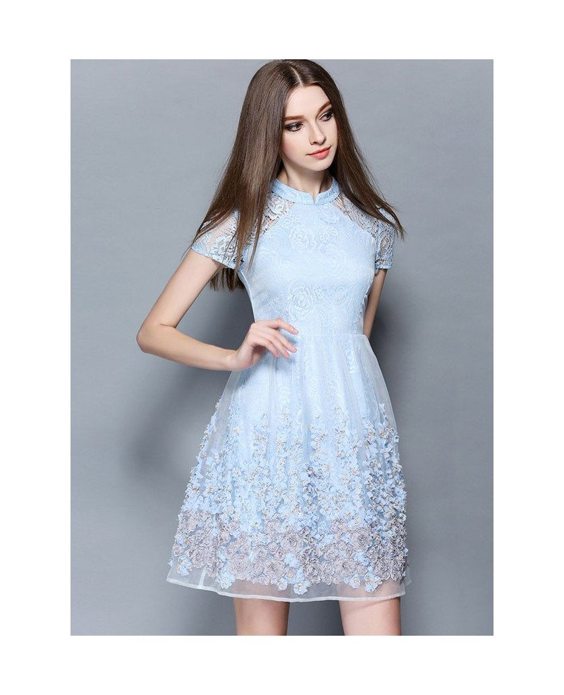 baby blue lace short wedding guest dress gemgrace ForBaby Blue Wedding Guest Dress