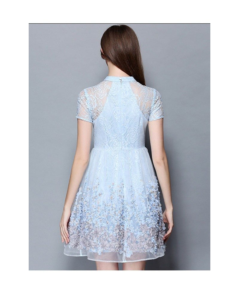 Baby Blue Lace Short Wedding Guest Dress Gemgrace