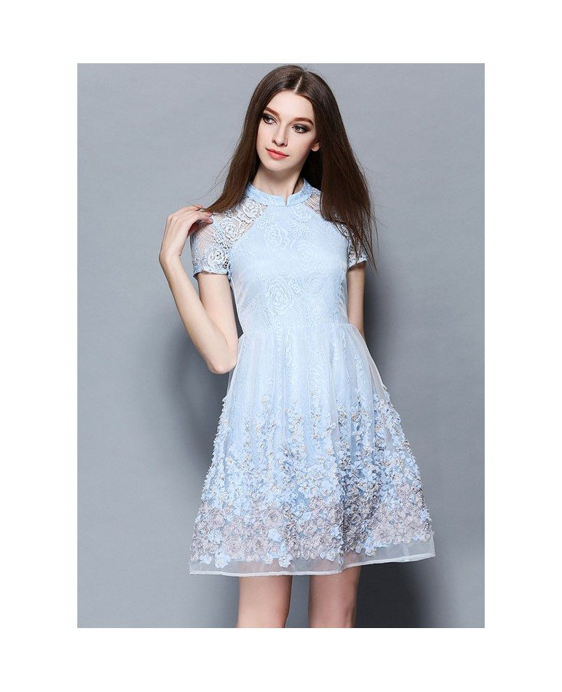 Baby Blue Lace Short Wedding Guest Dress -GemGrace