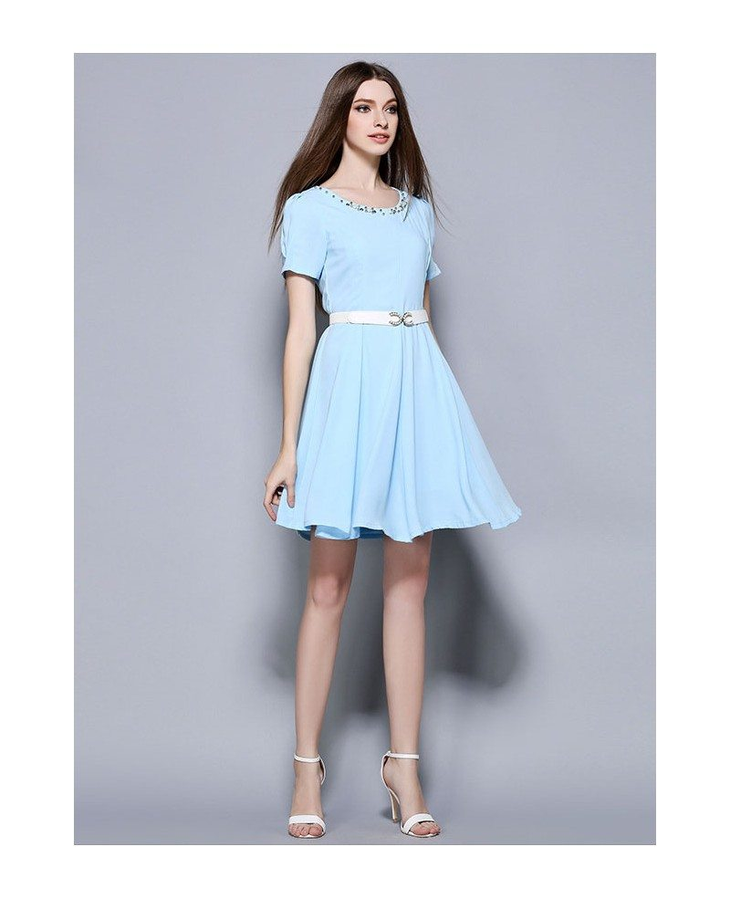 Wedding Guest Dress: Baby Blue Chiffon Beading Short Wedding Guest Dress -GemGrace
