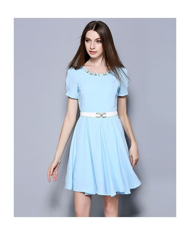 Baby blue chiffon beading short wedding guest dress gemgrace for Short blue wedding dresses
