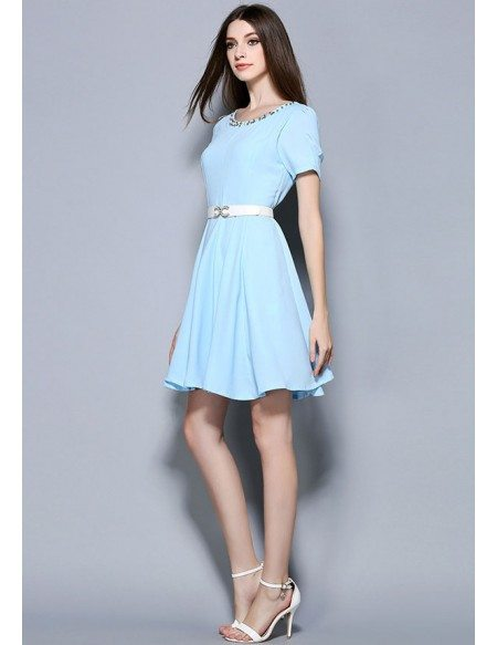 Quick Ship Baby Blue Chiffon Beading Short Wedding Guest Dress