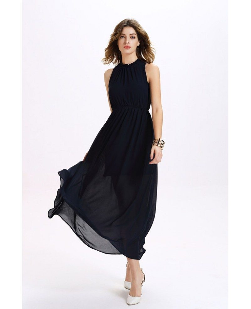 Dark Navy High Neck Chiffon Maxi Dress -GemGrace