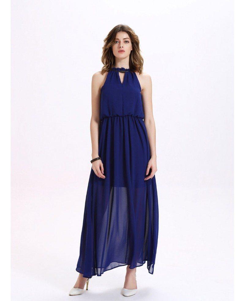 Navy Blue High Neck Chiffon Maxi Dress -GemGrace