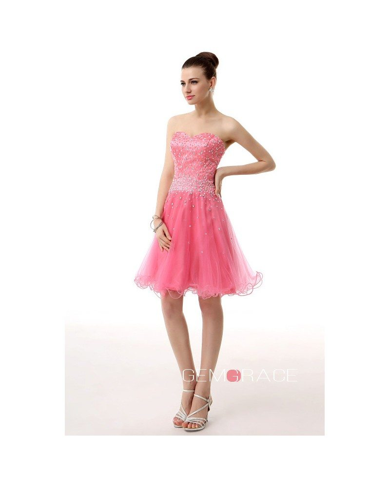 A-Line Sweetheart Short Tulle Prom Dress With Beading #YH0012 $109 ...