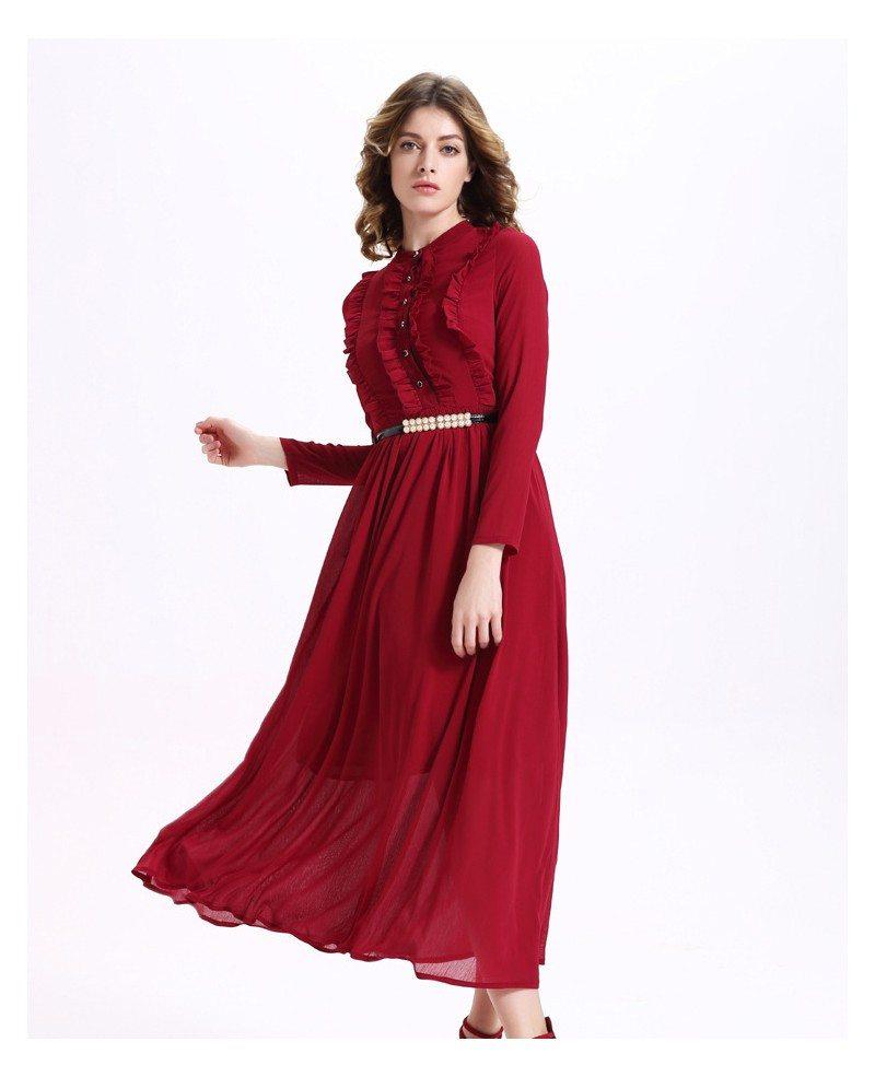 783165735980 Long Sleeves Burgundy Chiffon Long Dress -GemGrace