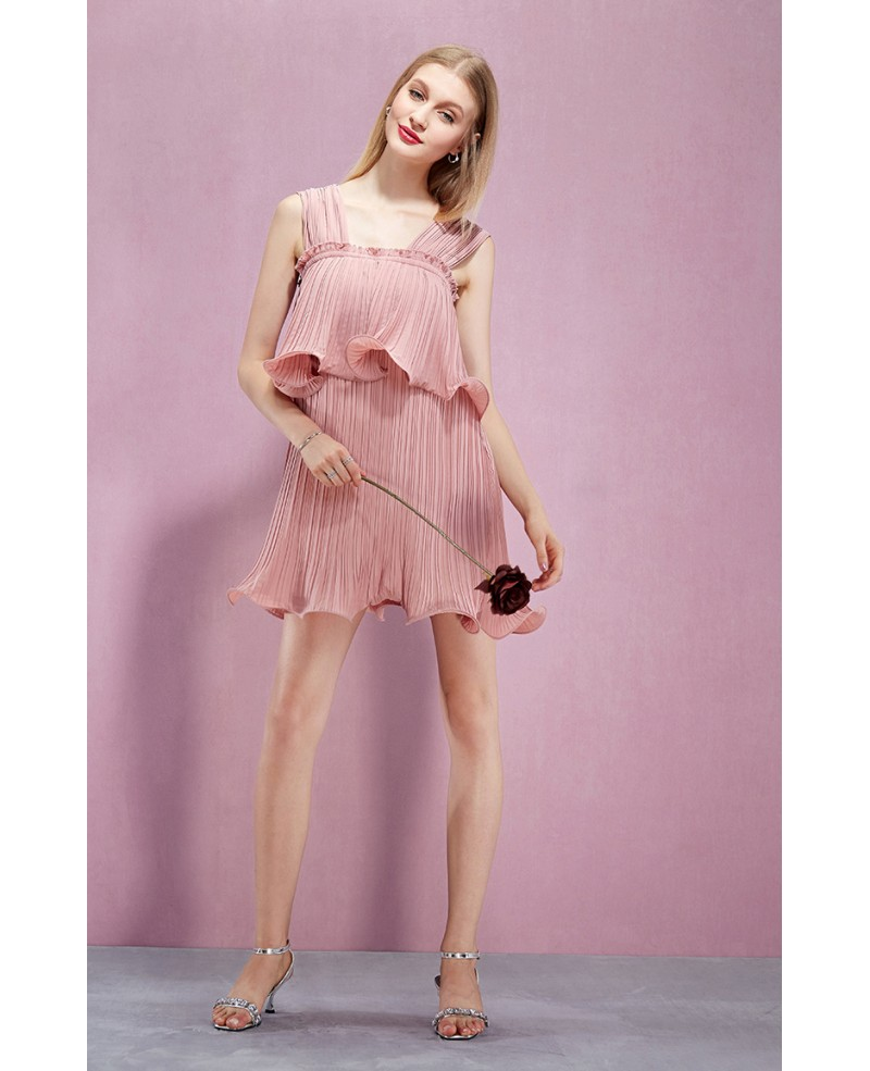 Pink Pleated Short Chiffon Dresses -GemGrace