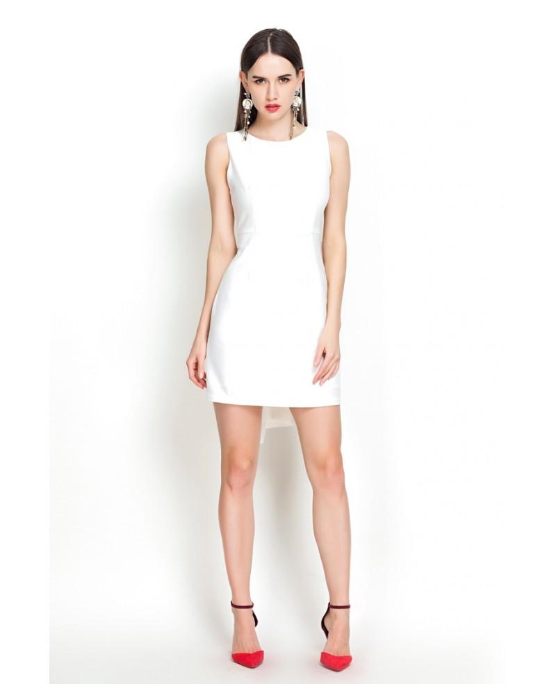 Sheath Little White Open Back Party Dress -GemGrace