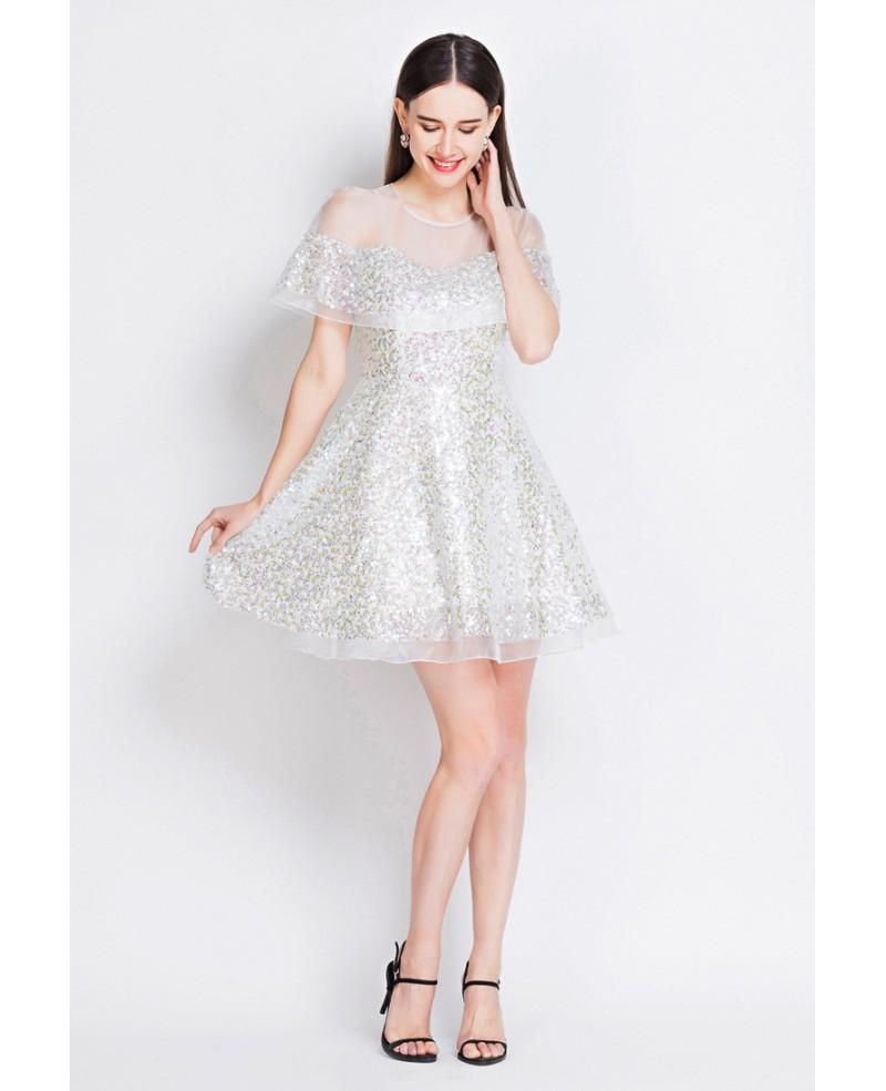 Flounce floral print short wedding guest dress gemgrace for Floral dresses for wedding guests