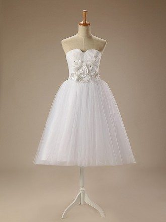 A-Line Sweetheart Short Tulle Dress With Appliquer Lace
