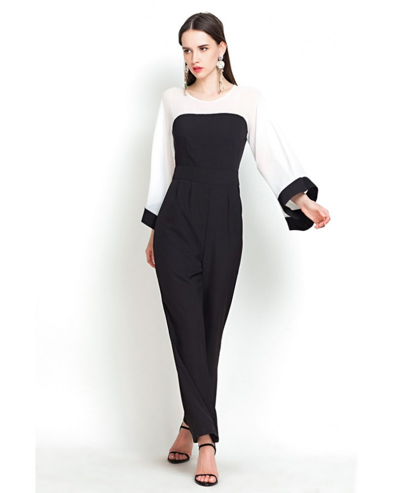 1ce4f1b0fa6c Chic bell sleeves black and white jumpsuit gemgrace jpg 800x985 Black white  jumpsuit