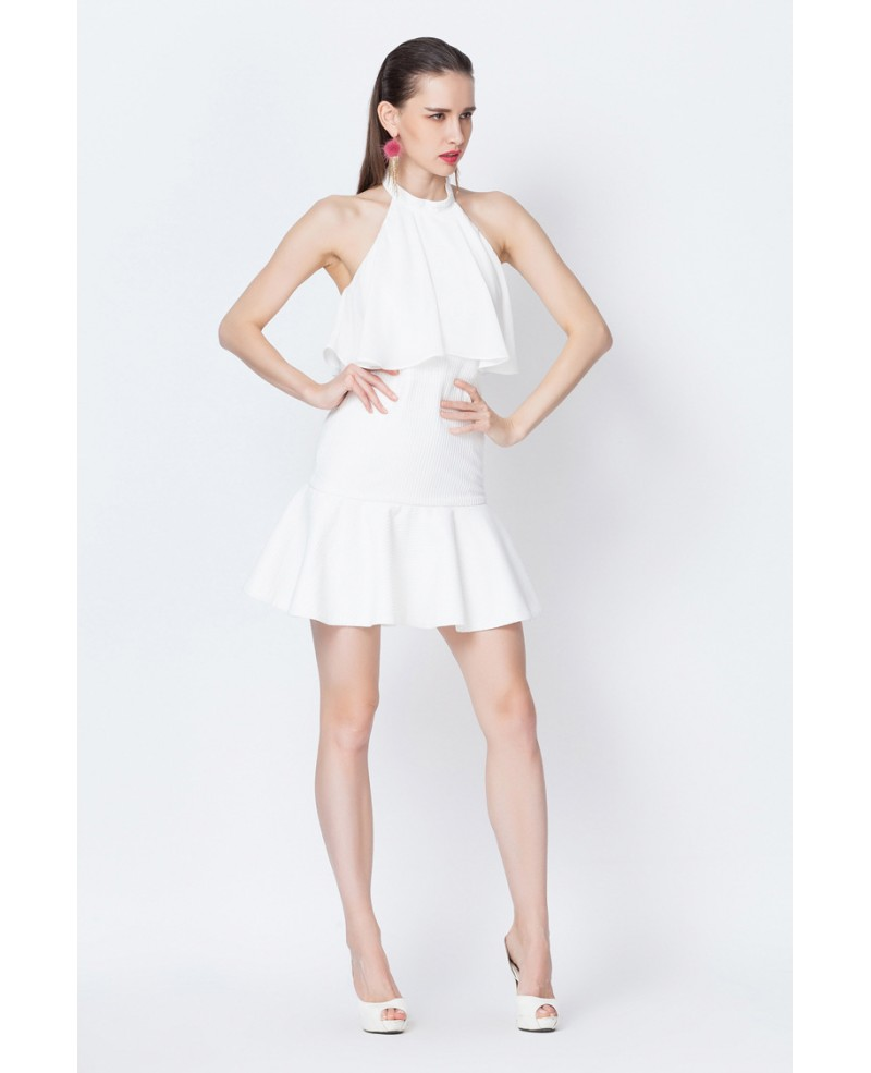 White halter flounce short party dress gemgrace - White dress party ...