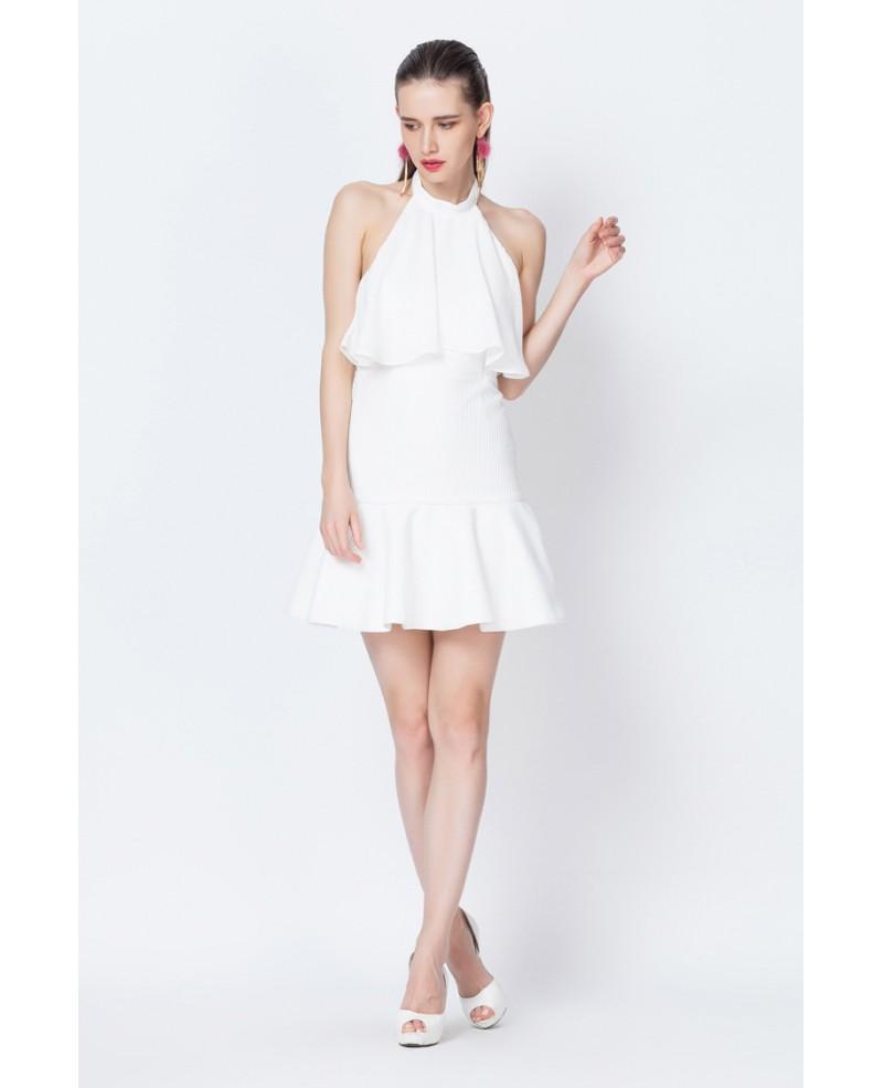 White Halter Flounce Short Party Dress -GemGrace