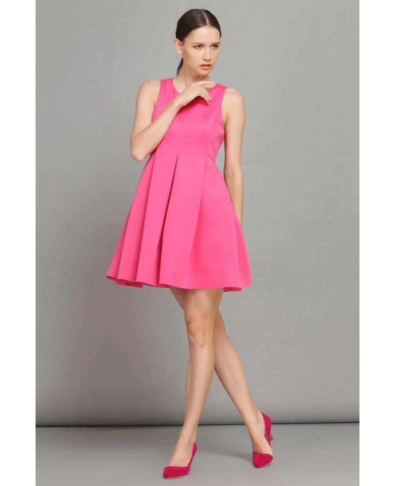 Hot Pink Sleeveless High Waist Short Dress With Pocket Gemgrace