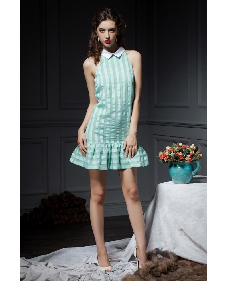 Mint Green Stripe Doll Collar Chiffon Short Party Dress -GemGrace