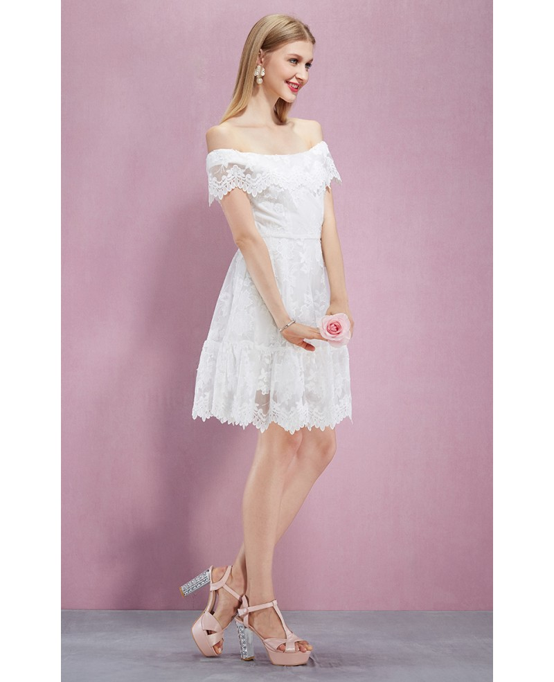 mid length white lace dress knee length off the shoulder white lace party dress gemgrace 5376