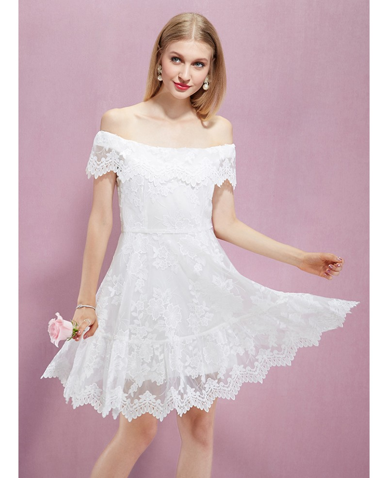 mid length white lace dress knee length off the shoulder white lace party dress gemgrace 5841