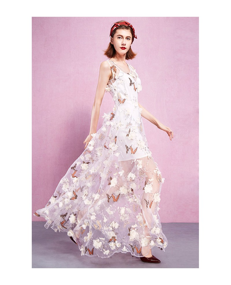 8ce6ad7cf00 Maxi Sleeveless Oragnza Butterfly Print Wedding Guest Dress ...