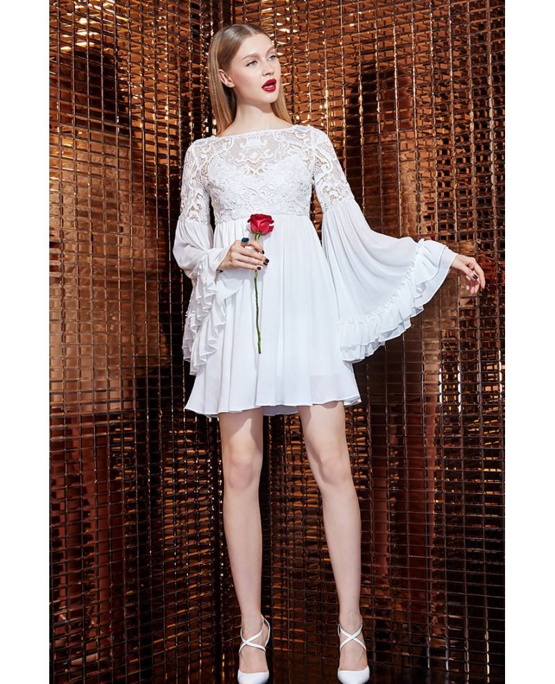 5fe94b23877c6 White Lace Chiffon Short Dress With Long Sleeves -GemGrace