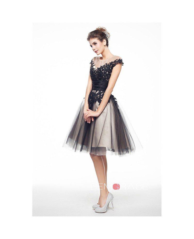 Simple Elegant Tulle A Line Scoop Neck Cap Sleeves Lace: A-Line Scoop Neck Short Tulle Prom Dress With Appliques