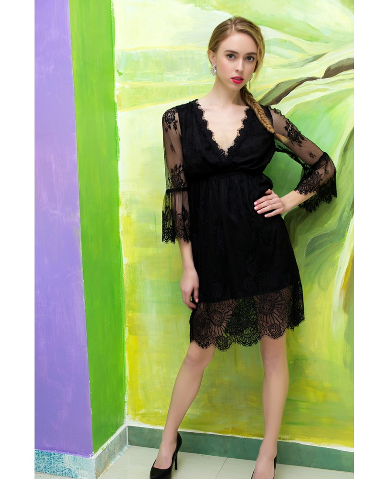 V-neck Lace Little Black Dress With Bell Sleeves -GemGrace