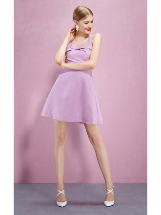 Cross Back Purple Short Party Dress With Pocket