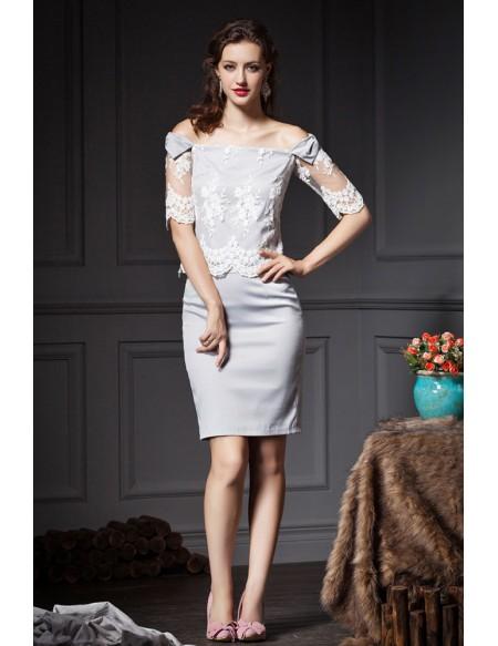 Grey Sheath Off-the-shoulder Lace Wedding Guest Dress -GemGrace
