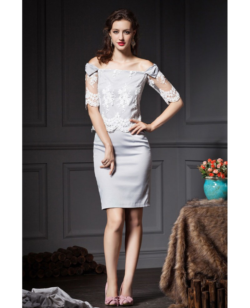 Grey sheath off the shoulder lace wedding guest dress for Grey dress wedding guest