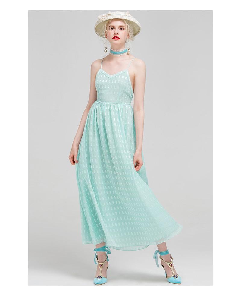 Mint Green V-neck Spaghetti Strap Maxi Dress -GemGrace