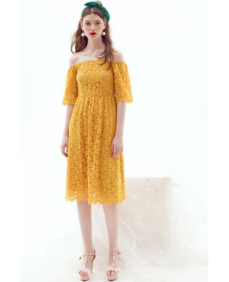 Yellow off the shoulder lace knee length wedding guest for Mid length dresses for wedding guests